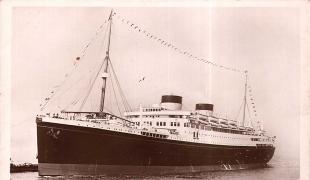 SS Georgic mit der Hedwig Baer am 16. Oktober 1936 von Le Havre nach USA abgefahren ist.